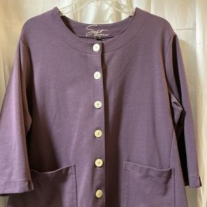 Avenue Soft Purple Button Up Blazer with Pockets